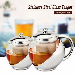 500-1100ml-Stainless-Steel-Glass-Teapot-Tea-Pot-amp-Leaf-Infuser-Filter