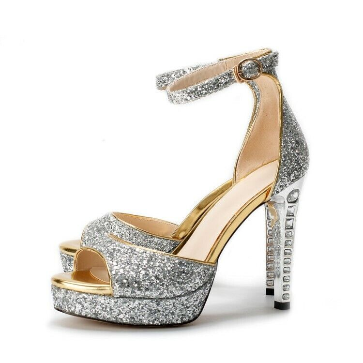 Sexy femmes Open Toe Sequins High Heel Rhinestone chaussures Ankle Strap Party Sandal