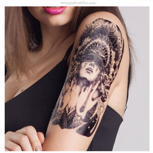 7d3cc2050 Image is loading Realistic-Temporary-Waterproof-Tattoo-Feather- Native-American-Indian-