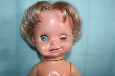 """Mattel Saucy doll- Funny Faces, Works! 8+ expressions, 15"""" tall-Nude-Mexico-1972"""