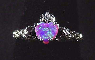 Sterling 925 Silver SF Size 9.5 Claddagh Ring 7mm Pink Lab Opal Heart & 2mm WT