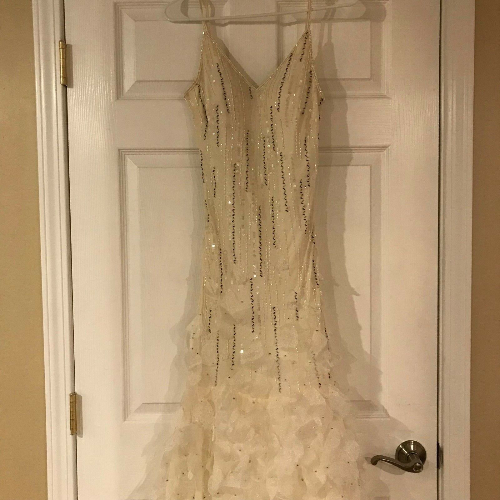 Lillie Rubin Floor-Length Formal Gown with Scarf, Ivory, Silk, Size 8