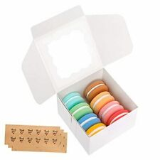 30 Packs 4x4x25 Inches White Bakery Boxes With Window Paper Treat Boxes For