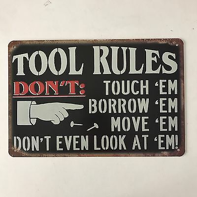 Tool Rules vintage Tin Sign Bar pub home Wall Decor Retro Metal art Poster