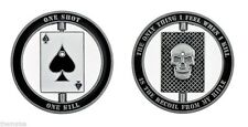 POLICE SWAT BULLET SNIPER ACE OF SPADES SKULL ONE SHOT ONE KILL CHALLENGE COIN