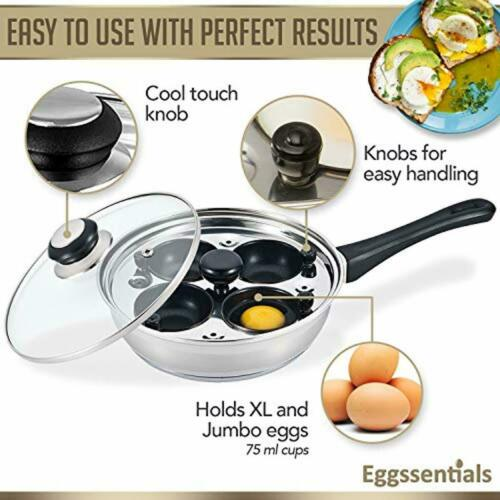 Eggssentials Poached Egg Maker Nonstick 4 Egg Poaching Cups Stainless Steel