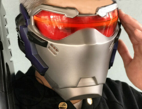 US! Game OW Soldier 76 Helmet Halloween Adult Cosplay Props ABS LED Light Masks