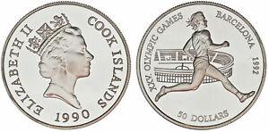 50-US-Dollar-50-Dollar-AG-COOK-ISLANDS-1990-Olympische-Spiele-BARCELONA-039-92