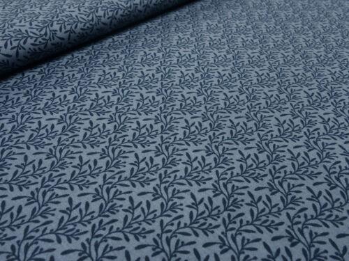 Algodón de tela las hojas de flores azul geblümt gris oscuro camisa vestidos de tela