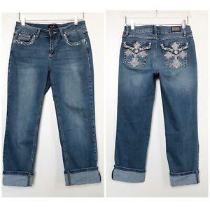 Earl-Jean-Womens-Denim-Capri-Rolled-Cuff-Embroidered-Rhinestone-Stretch-Size-6