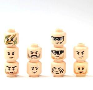 10 Custom Köpfe tan hautfarbe für LEGO® Figuren Polizist Soldat Swat City Head