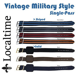 Vintage-Style-Single-Wrap-Around-Military-Watch-Straps-14-20mm-S-S-amp-GP-Buckles