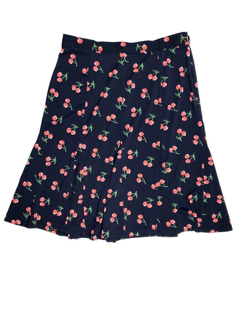 Talbots Women's 2 XS Navy Cherry Printed Short Knee Skirt Flare Stretch Red f2