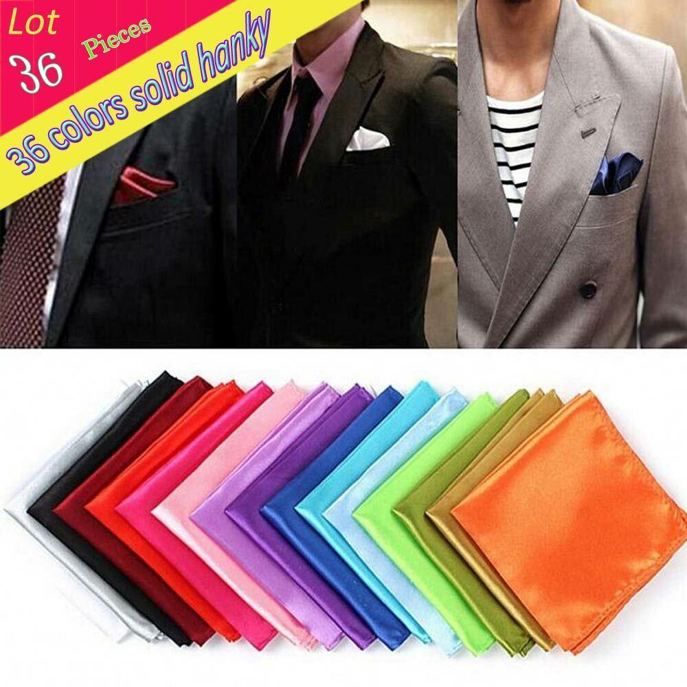 (36 pcs/lot) Wholesale Men's Hanky Solid Plain Pocket Square Handkerchief Gift