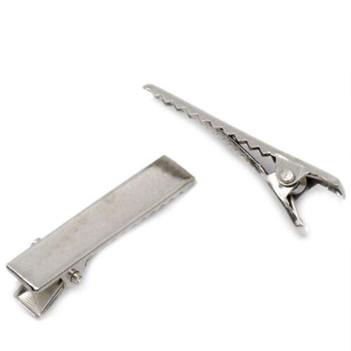Lot 10 Barrettes Pinces à cheveux à décorer 32mm x 7mm Argenté pince Crocodile