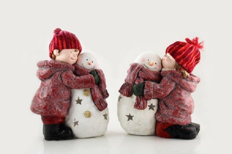 Winterkinder Figur mit Schneemann Weihnachten Kinder für außen XL