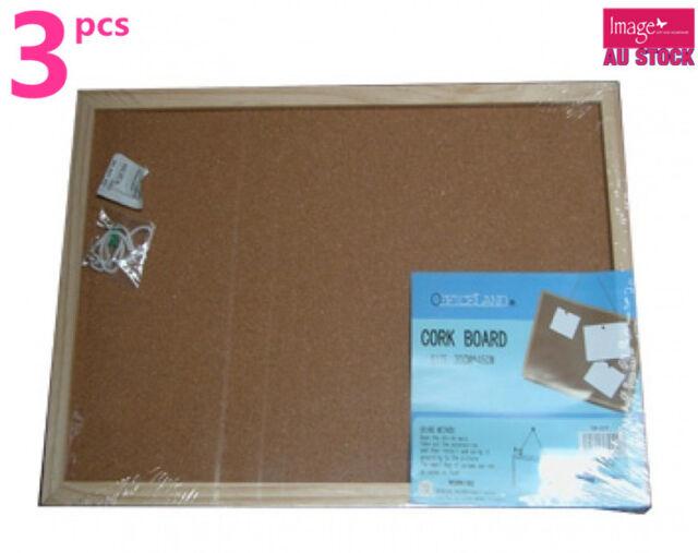 3pcs 30x45cm Cork Board Noticeboard Office School Home (S519x3)