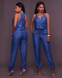 ea2e7bf4b0 Image is loading Women-Sexy-sleeveless-denim-jeans-bodycon-long-clubwear-