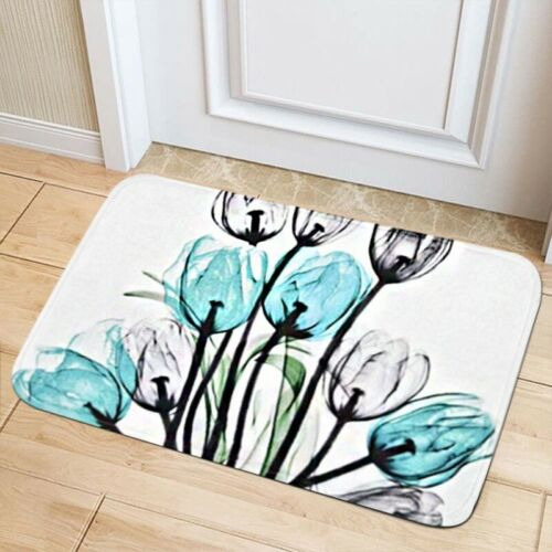 4Pcs Tulip Shower Curtain  Bathroom Anti-slip Carpet Rug Toilet Cover Mat Sets