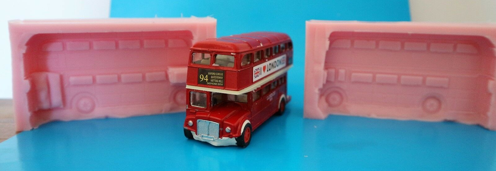 LONDON BUS 3D SILICONE MOULD FOR CAKE TOPPERS, CHOCOLATE, CLAY ETC
