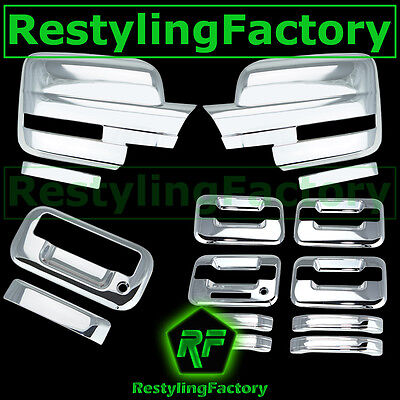 09-14 Ford F150 Chrome Mirror+2 Door Handle+keypad+PSG keyhole+Gas Cover COMBO