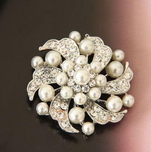 Crema Perlas de Imitación /& Diamante Hoja de diamantes de imitación de cristal brillante y Flor Broche