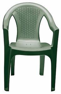 Sedie Da Giardino In Plastica Verdi.Dettagli Su Poltrona Da Giardino In Plastica Tressi Impilabile Verde Sedia Tressi 6 Pezzi