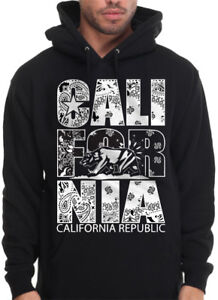12c2f37787 Details about Men's California Republic Hoodie Sweatshirt White Bandana  Print Paisley CA DOPE