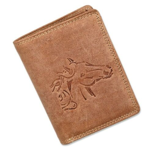 Geldbörse Portmonee Portemonnaie Geldbeutel Leder Pferd Motiv Tan Hell Braun
