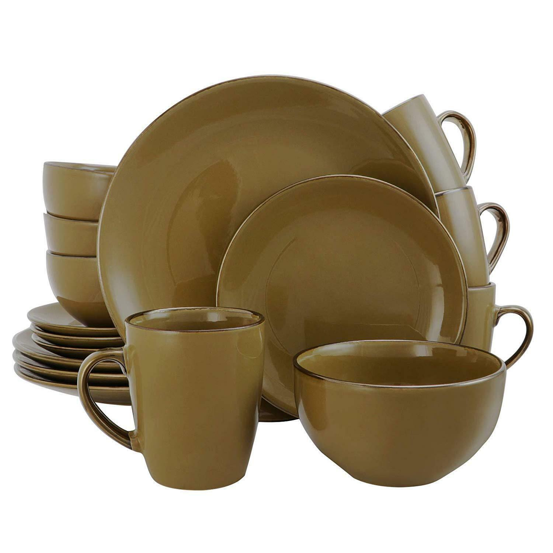 Elama Bristol Grand 16-pièce Dinnerware Set, Warm Taupe