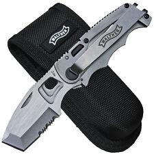 Walther CFK kleines Taschenmesser Vollmetall Klingenform Chisel mit Nylontui