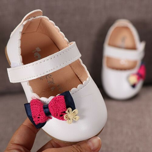 Lively Toddler Kids Baby Girls Elegant Bowknot Single Princess Casual PU Shoes