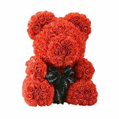 "WR Red Rose Bear Flower Teddy 15"" In Box Gifts For Wedding Birthday Valentine"
