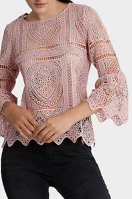 NEW Miss Shop Lace Belle Sleeve Top Blush