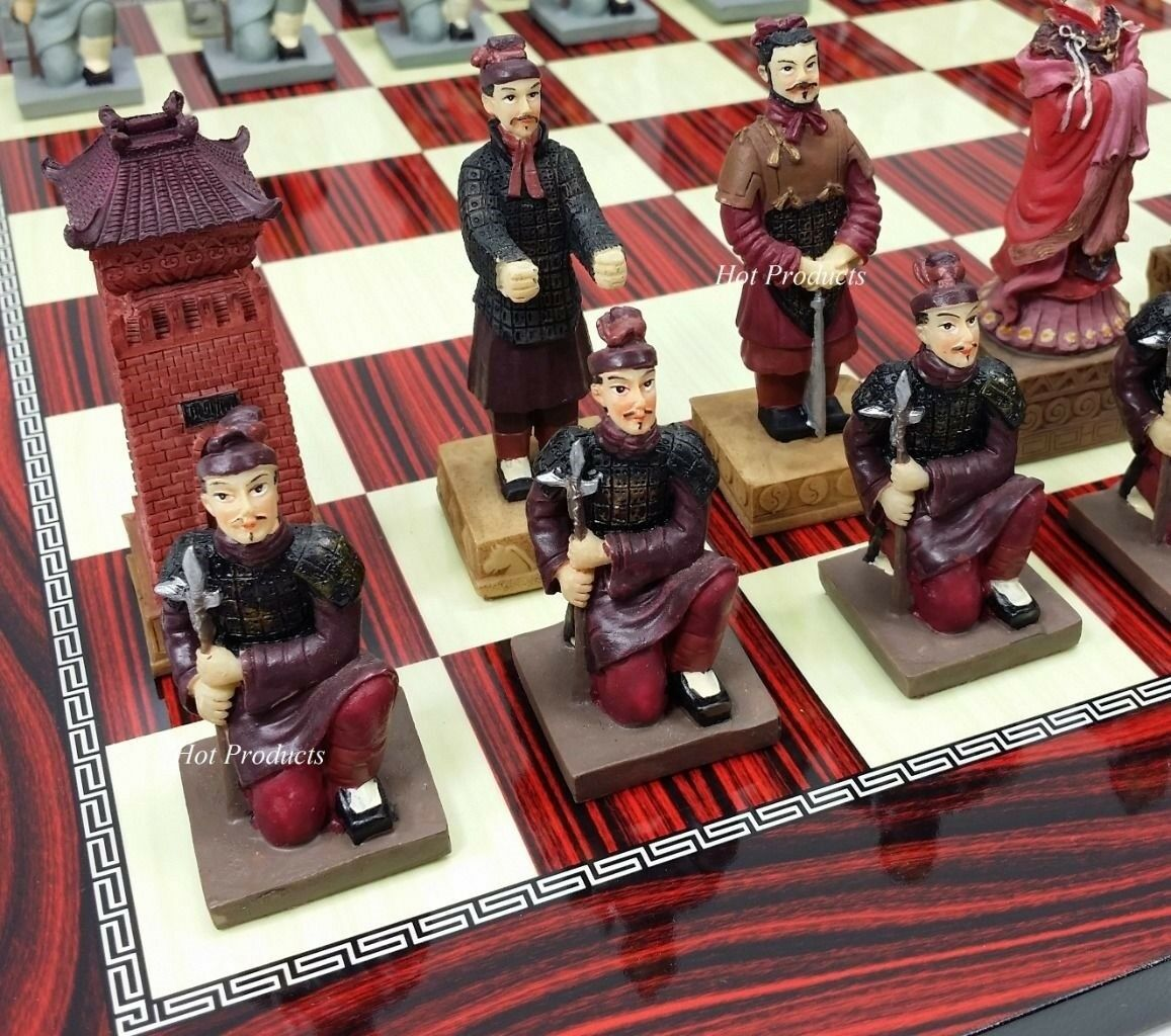 Oriental Terracotta Army guerriers Chess Set avec cerise couleur Board 17