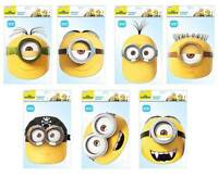 Minions Official Set of 7 Characters 2D CARD Party Face Masks Pack Stuart  Kevin