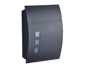 Design-Briefkasten-Schwarz-Matt-Postkasten-Wandbriefkasten-Post-Mailbox