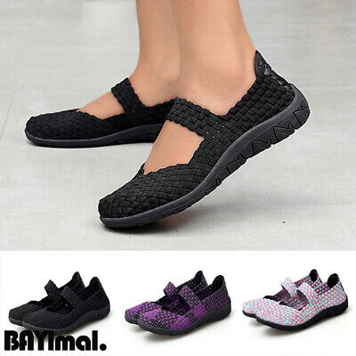 Ladies Womens New Casual Flat Slip On Summer Walking Trainers Pumps Shoes Size