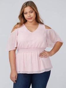 8abc904a17d859 LANE BRYANT ~ NWT! New 28 ~ Blush Pink Clip Dot SMOCKED Cold ...