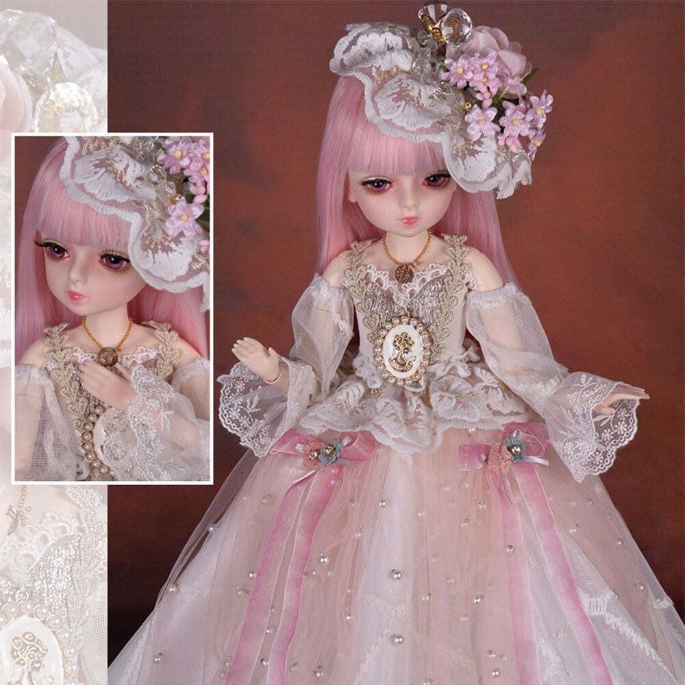 18  1 4 BJD Doll Ball Jointed Girl Dolls + Eyes Face Makeup Wig Dress shoes Set