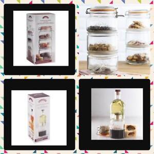 Kilner-Stackable-Storage-Jar-amp-Bottles-Set-of-3-Space-Saving-Glass-Jars-Gift