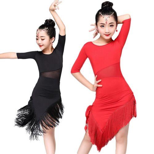Girls Latin Dance Dress Tassel Dancewear Child Salsa Ballroom Performing Costume