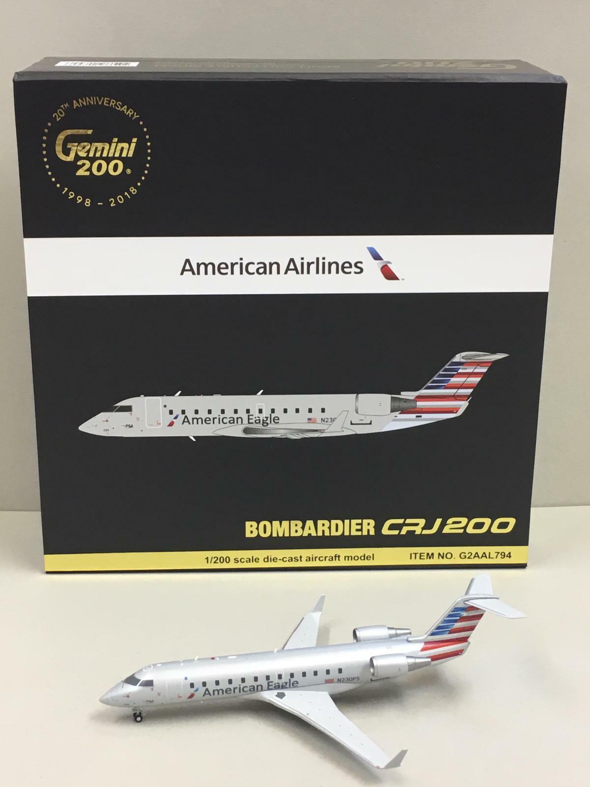 Gemini Jets 1 200 American Airlines Bombardier CRJ200 N230PS G2AAL794