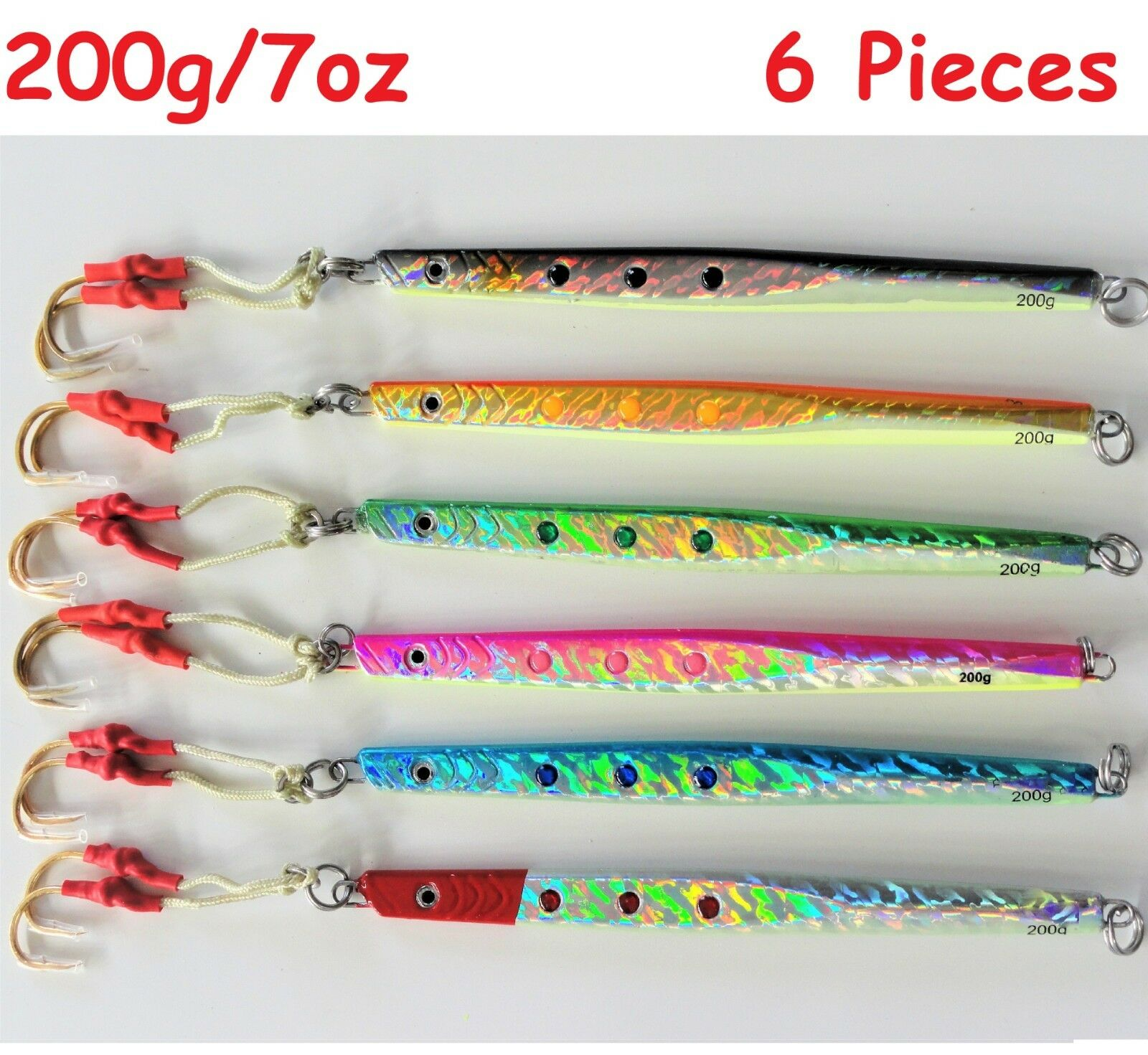 Qty 6 Speed Jigs 200g 7oz greenical Knife Butterfly Saltwater Lures select colors