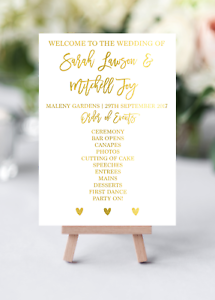 Order Of Events Wedding.Details About Gold Foil Order Of Events Wedding Decor Individual Place Cards Timeline