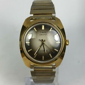 Vintage-Timex-Mens-Electric-Dynabeat-Gold-Stainless-Steel-Back-Bracelet-Watch