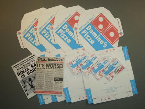 4 Easy Fold dominos Pizza Boîtes /& 2 journaux pour échelle 1//4 Teenage Mutant Ninja Turtles