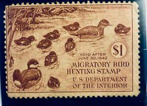 U.S. MIGRATORY BIRD HUNTING STAMP SCOTT #RW 8 - Unused OG Very Lightly Hinged