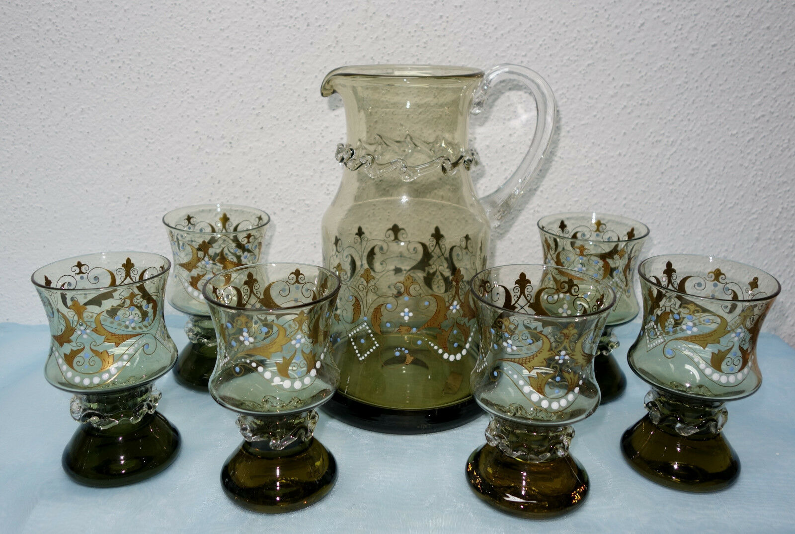 Noble trinkset-Theresienthal-coulait M. 6 verres EMAILLE peinture