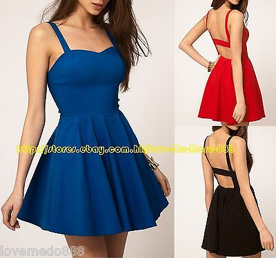 new womens strap open back club wear party Mini Dress S M L XL RED Black Blue